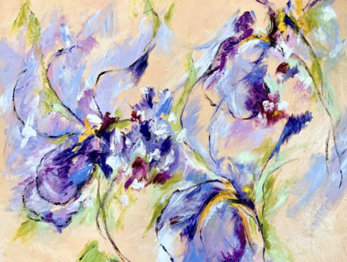 Irises and Foxgloves