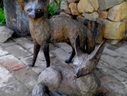 Bat-Eared Foxes - Male Size: H:46 x L:41 / Female Size: H:31 x L:42. Bronze. Edition of 10